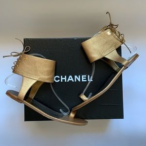 Authentic CHANEL CC Logo Lace-Up Gladiator Sandals